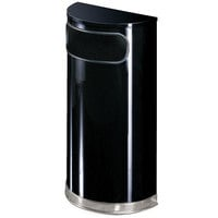Rubbermaid FGSO820PLBK European Black with Chrome Accents Half Round Steel Waste Receptacle with Rigid Plastic Liner 9 Gallon