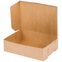 Southern Champion 1025K 14 inch x 10 inch x 4 inch Kraft Quarter Sheet Cake / Bakery Box - 100/Bundle