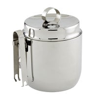 American Metalcraft DWIB40 Double Wall Stainless Steel 1.25 Qt. Ice Bucket with Lid and Tong