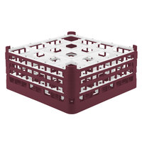 Vollrath 52720 Signature Full-Size Burgundy 16-Compartment 7 1/8 inch X-Tall Glass Rack