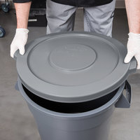 Continental 2001GY Huskee 20 Gallon Gray Round Trash Can Lid
