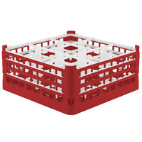 Vollrath 52730 Signature Full-Size Red 9-Compartment 7 1/8 inch X-Tall Glass Rack