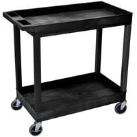 "Luxor EC11-B Black Two Tub Shelf Utility Cart - 18"" x 35 1/4"" x 34 1/4"""