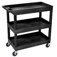 "Luxor EC111-B Black Three Tub Shelf Utility Cart - 18"" x 35 1/4"" x 36 1/4"""
