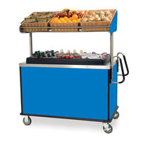 Lakeside 668BL Stainless Steel Vending Cart with Insulated Polyethylene Ice Bin, Overhead Shelf, and Royal Blue Finish - 28 1/2 inch x 54 3/4 inch x 67 inch