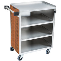 Lakeside 615VC 4 Shelf Standard Duty Stainless Steel Utility Cart with Enclosed Base and Victorian Cherry Finish - 16 1/2 inch x 27 3/4 inch x 32 3/4 inch