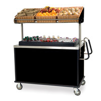 Lakeside 668B Stainless Steel Vending Cart with Insulated Polyethylene Ice Bin, Overhead Shelf, and Black Finish - 28 1/2 inch x 54 3/4 inch x 67 inch