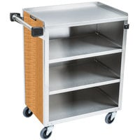 Lakeside 615LM 4 Shelf Standard Duty Stainless Steel Utility Cart with Enclosed Base and Light Maple Finish - 16 1/2 inch x 27 3/4 inch x 32 3/4 inch