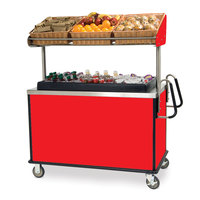 Lakeside 668RD Stainless Steel Vending Cart with Insulated Polyethylene Ice Bin, Overhead Shelf, and Red Finish - 28 1/2 inch x 54 3/4 inch x 67 inch