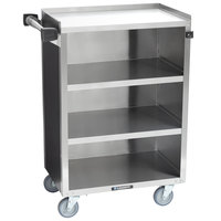 Lakeside 815B 4 Shelf Medium Duty Stainless Steel Utility Cart with Enclosed Base and Black Finish - 16 7/8 inch x 28 1/4 inch x 37 1/2 inch