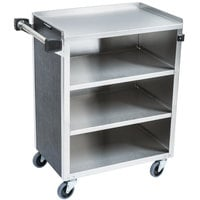 Lakeside 615B 4 Shelf Standard Duty Stainless Steel Utility Cart with Enclosed Base and Black Finish - 16 1/2 inch x 27 3/4 inch x 32 3/4 inch