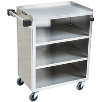 Lakeside 615BS 4 Shelf Standard Duty Stainless Steel Utility Cart with Enclosed Base and Beige Suede Finish - 16 1/2 inch x 27 3/4 inch x 32 3/4 inch