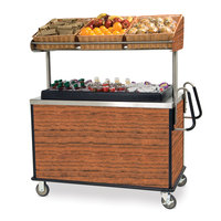 Lakeside 668VC Stainless Steel Vending Cart with Insulated Polyethylene Ice Bin, Overhead Shelf, and Victorian Cherry Finish - 28 1/2 inch x 54 3/4 inch x 67 inch