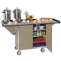 Lakeside 675BS Stainless Steel Drop-Leaf Beverage Service Cart with 3 Shelves and Beige Suede Finish - 44 1/4 inch x 24 inch x 38 1/4 inch