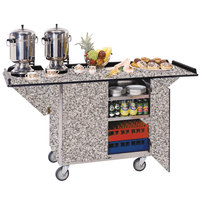 Lakeside 675GS Stainless Steel Drop-Leaf Beverage Service Cart with 3 Shelves and Gray Sand Finish - 44 1/4 inch x 24 inch x 38 1/4 inch