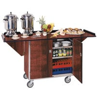 Lakeside 675RM Stainless Steel Drop-Leaf Beverage Service Cart with 3 Shelves and Red Maple Finish - 44 1/4 inch x 24 inch x 38 1/4 inch