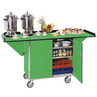 Lakeside 675G Stainless Steel Drop-Leaf Beverage Service Cart with 3 Shelves and Green Finish - 44 1/4 inch x 24 inch x 38 1/4 inch