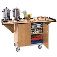 Lakeside 675LM Stainless Steel Drop-Leaf Beverage Service Cart with 3 Shelves and Light Maple Finish - 44 1/4 inch x 24 inch x 38 1/4 inch