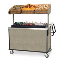 Lakeside 668BS Stainless Steel Vending Cart with Insulated Polyethylene Ice Bin, Overhead Shelf, and Beige Suede Finish - 28 1/2 inch x 54 3/4 inch x 67 inch