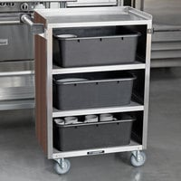 Lakeside 815W 4 Shelf Medium Duty Stainless Steel Utility Cart with Enclosed Base and Walnut Finish - 16 7/8 inch x 28 1/4 inch x 37 1/2 inch