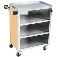 Lakeside 615HRM 4 Shelf Standard Duty Stainless Steel Utility Cart with Enclosed Base and Hard Rock Maple Finish - 16 1/2 inch x 27 3/4 inch x 32 3/4 inch