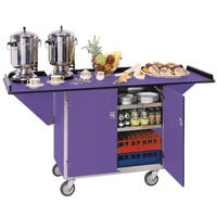 Lakeside 675P Stainless Steel Drop-Leaf Beverage Service Cart with 3 Shelves and Purple Finish - 44 1/4 inch x 24 inch x 38 1/4 inch