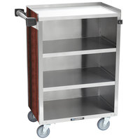Lakeside 815RM 4 Shelf Medium Duty Stainless Steel Utility Cart with Enclosed Base and Red Maple Finish - 16 7/8 inch x 28 1/4 inch x 37 1/2 inch