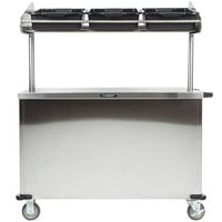 Lakeside 663 Solid Stainless Steel Vending Cart with Overhead Shelf and 3 Plastic Bins - 28 1/4 inch x 52 1/4 inch x 67 inch