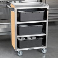 Lakeside 815HRM 4 Shelf Medium Duty Stainless Steel Utility Cart with Enclosed Base and Hard Rock Maple Finish - 16 7/8 inch x 28 1/4 inch x 37 1/2 inch