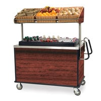Lakeside 668RM Stainless Steel Vending Cart with Insulated Polyethylene Ice Bin, Overhead Shelf, and Red Maple Finish - 28 1/2 inch x 54 3/4 inch x 67 inch