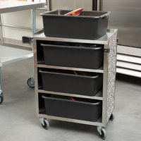 Lakeside 615GS 4 Shelf Standard Duty Stainless Steel Utility Cart with Enclosed Base and Gray Sand Finish - 16 1/2 inch x 27 3/4 inch x 32 3/4 inch