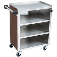 Lakeside 615W 4 Shelf Standard Duty Stainless Steel Utility Cart with Enclosed Base and Walnut Finish - 16 1/2 inch x 27 3/4 inch x 32 3/4 inch