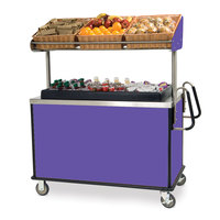 Lakeside 668P Stainless Steel Vending Cart with Insulated Polyethylene Ice Bin, Overhead Shelf, and Purple Finish - 28 1/2 inch x 54 3/4 inch x 67 inch