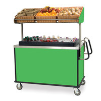 Lakeside 668G Stainless Steel Vending Cart with Insulated Polyethylene Ice Bin, Overhead Shelf, and Green Finish - 28 1/2 inch x 54 3/4 inch x 67 inch