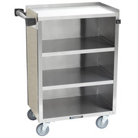 Lakeside 815BS 4 Shelf Medium Duty Stainless Steel Utility Cart with Enclosed Base and Beige Suede Finish - 16 7/8 inch x 28 1/4 inch x 37 1/2 inch