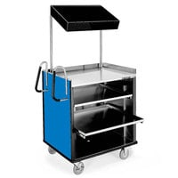 Lakeside 660BL 4 Shelf Stainless Steel Compact Vending Cart with Royal Blue Laminate Finish - 28 1/4 inch x 49 inch x 72 1/4 inch