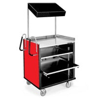 Lakeside 660RD 4 Shelf Stainless Steel Compact Vending Cart with Red Laminate Finish - 28 1/4 inch x 49 inch x 72 1/4 inch