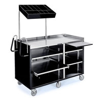 Lakeside 68010B 4 Shelf Stainless Steel Vending Cart with Pull-Out Shelves and Black Laminate Finish - 27 1/2 inch x 60 inch x 70 inch