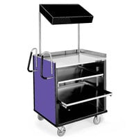 Lakeside 660P 4 Shelf Stainless Steel Compact Vending Cart with Purple Laminate Finish - 28 1/4 inch x 49 inch x 72 1/4 inch