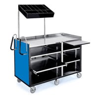 Lakeside 68010BL 4 Shelf Stainless Steel Vending Cart with Pull-Out Shelves and Royal Blue Laminate Finish - 27 1/2 inch x 60 inch x 70 inch