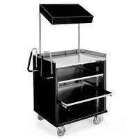 Lakeside 660B 4 Shelf Stainless Steel Compact Vending Cart with Black Laminate Finish - 28 1/4 inch x 49 inch x 72 1/4 inch