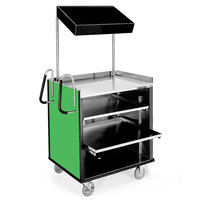 Lakeside 660G 4 Shelf Stainless Steel Compact Vending Cart with Green Laminate Finish - 28 1/4 inch x 49 inch x 72 1/4 inch