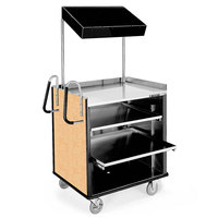 Lakeside 660HRM 4 Shelf Stainless Steel Compact Vending Cart with Hard Rock Maple Laminate Finish - 28 1/4 inch x 49 inch x 72 1/4 inch