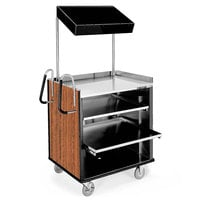 Lakeside 660VC 4 Shelf Stainless Steel Compact Vending Cart with Victorian Cherry Laminate Finish - 28 1/4 inch x 49 inch x 72 1/4 inch