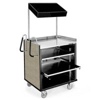 Lakeside 660BS 4 Shelf Stainless Steel Compact Vending Cart with Beige Suede Laminate Finish - 28 1/4 inch x 49 inch x 72 1/4 inch