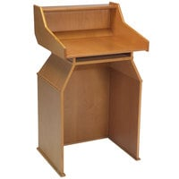 Geneva 73550 Blonde Veneer Finish Host Station with Top Shelf and Storage Compartment