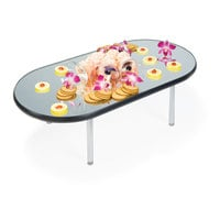 Geneva 2264 Oval Rimless Stacking Mirror Food Display Tray - 16 inch x 32 inch