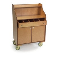Geneva 73565 Blonde Veneer Finish Waitress Station with 5 Compartments and Fixed Dividers