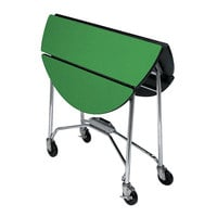 Lakeside 415GS Mobile Round Top Fold-Up Room Service Table with Green Finish - 22 1/4 inch x 40 inch x 30 inch