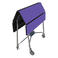 Lakeside 416P Mobile Square Top Fold-Up Room Service Table with Purple Finish - 22 1/4 inch x 36 inch x 30 inch